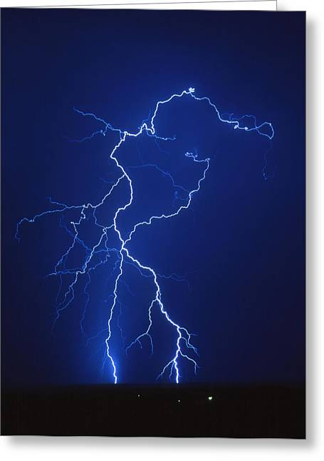 Electrical Storm Greeting Cards - Lightning Strike At Night, Near Tucson, Usa Greeting Card by Keith Kent