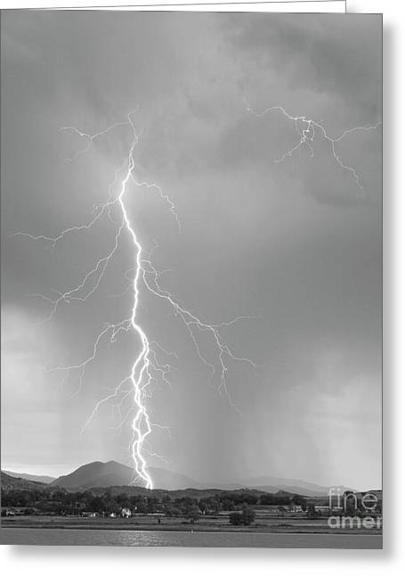 Lightning Gifts Greeting Cards - Lightning Strike Colorado Rocky Mountain Foothills BW Greeting Card by James BO  Insogna