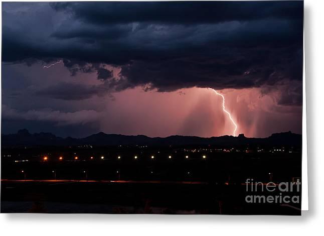 Arizona Lightning Greeting Cards - Lightning Strike Greeting Card by Eddie Yerkish