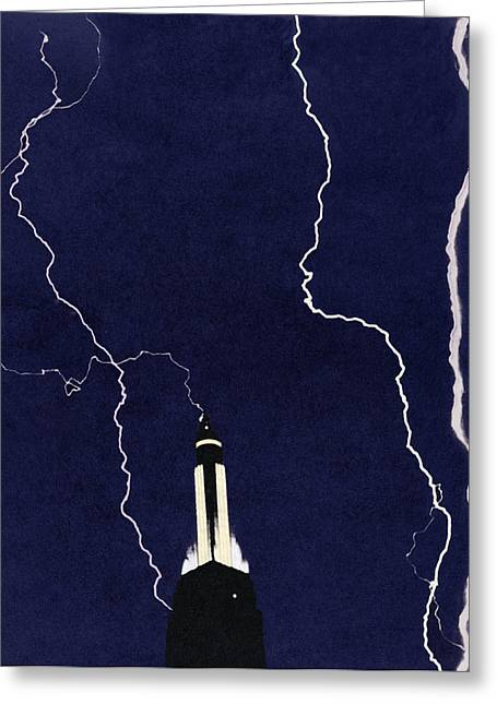 """lightning Strike"" Greeting Cards - Lightning Strike Greeting Card by Sheila Terry"