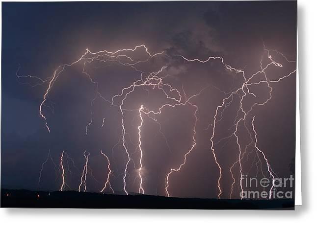 Lightning Strike Greeting Cards - Lightning Strike Greeting Card by Ted Kinsman