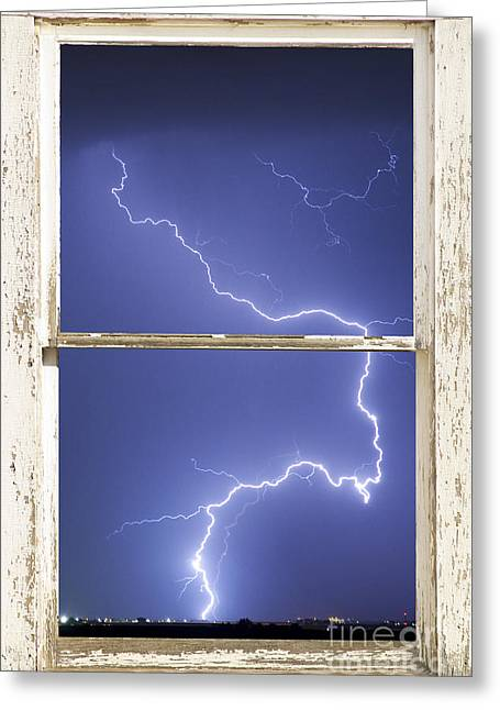 Lightning Strike White Barn Picture Window Frame Photo Art  Greeting Card by James BO  Insogna