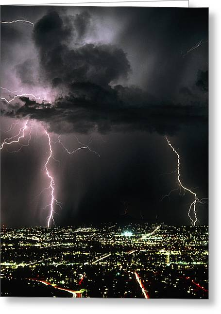 Electrical Storm Greeting Cards - Lightning Strikes At Night In Tucson, Arizona, Usa Greeting Card by Keith Kent