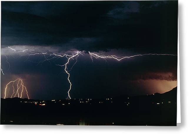 Electrical Storm Greeting Cards - Lightning Strikes At Night, Near Tucson, Usa Greeting Card by Keith Kent