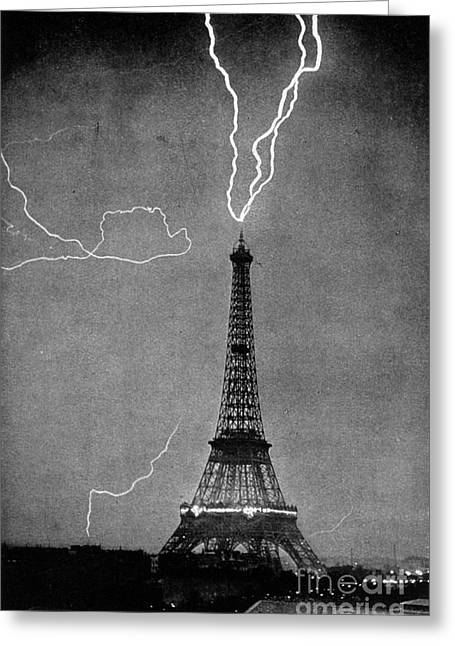 Lightning Photographs Greeting Cards - Lightning Strikes Eiffel Tower, 1902 Greeting Card by Science Source
