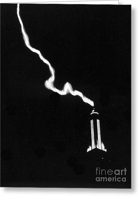 Lightning Photographs Greeting Cards - Lightning Strikes Empire State Greeting Card by Science Source