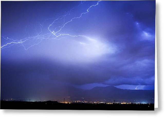 Lightning Bolt Pictures Photographs Greeting Cards - Lightning Strikes Over Boulder Colorado Greeting Card by James BO  Insogna