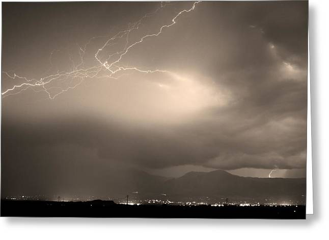 Lightning Bolt Pictures Photographs Greeting Cards - Lightning Strikes Over Boulder Colorado Sepia Greeting Card by James BO  Insogna