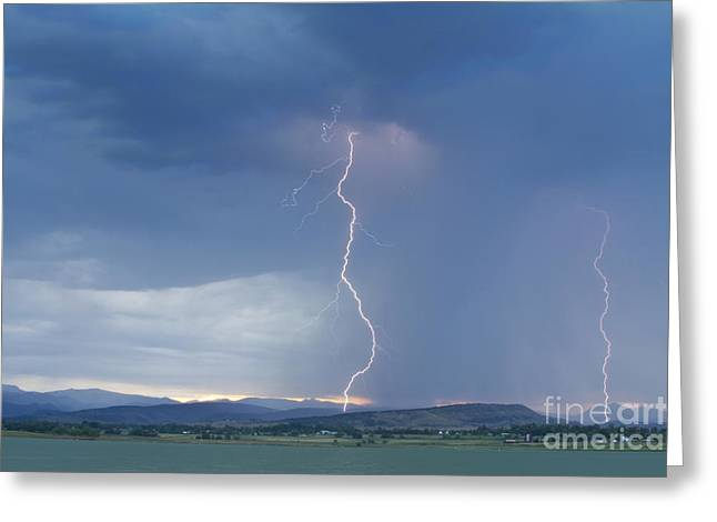 Lightning Gifts Greeting Cards - Lightning Striking At Sunset Rocky Mountain Foothills Greeting Card by James BO  Insogna