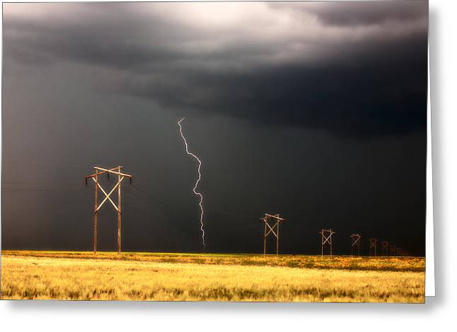 Images Lightning Digital Art Greeting Cards - Lightning striking behind Saskatchewan power line Greeting Card by Mark Duffy