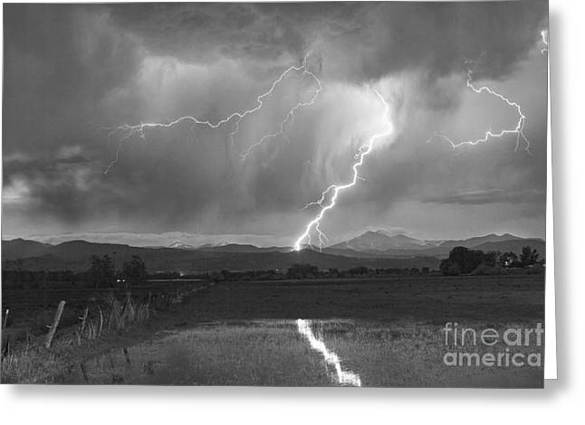 Lightning Striking Longs Peak Foothills 2bw Greeting Card by James BO  Insogna