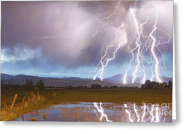 Cloud To Ground Greeting Cards - Lightning Striking Longs Peak Foothills 4 Greeting Card by James BO  Insogna