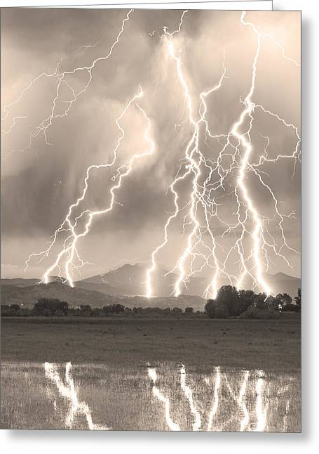 Images Lightning Greeting Cards - Lightning Striking Longs Peak Foothills 4CBWSepia Greeting Card by James BO  Insogna