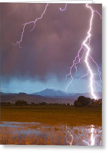 Storm Prints Photographs Greeting Cards - Lightning Striking Longs Peak Foothills 5 Crop Greeting Card by James BO  Insogna