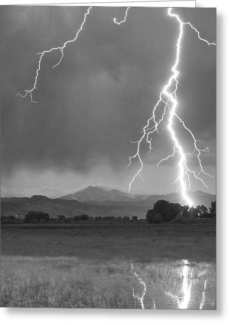 Images Lightning Greeting Cards - Lightning Striking Longs Peak Foothills 5BW Crop Greeting Card by James BO  Insogna