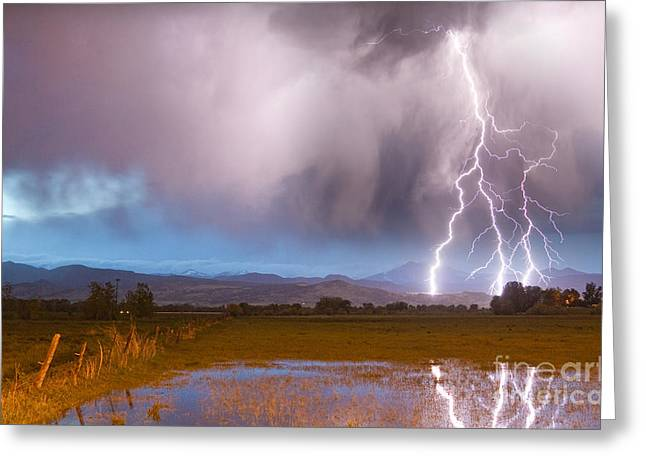 Images Lightning Greeting Cards - Lightning Striking Longs Peak Foothills 6 Greeting Card by James BO  Insogna