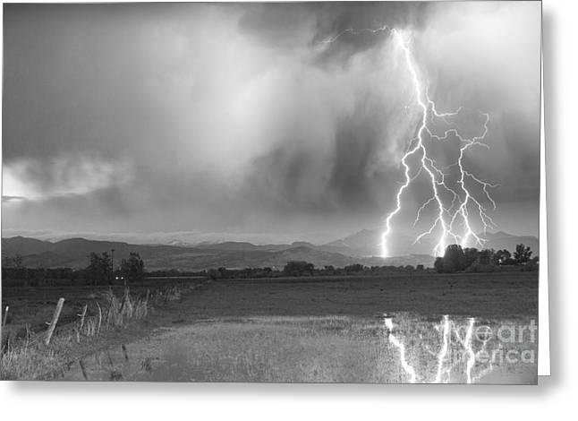 Lightning Striking Longs Peak Foothills 6BW Greeting Card by James BO  Insogna