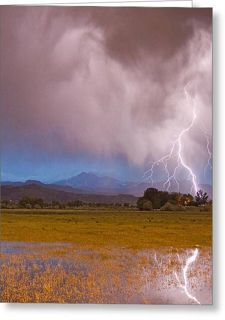 Storm Prints Greeting Cards - Lightning Striking Longs Peak Foothills 7C Greeting Card by James BO  Insogna