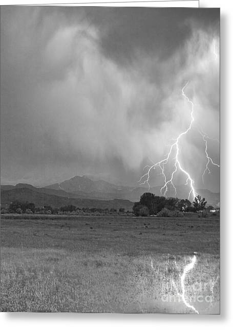 Lightning Striking Longs Peak Foothills 7cbw Greeting Card by James BO  Insogna