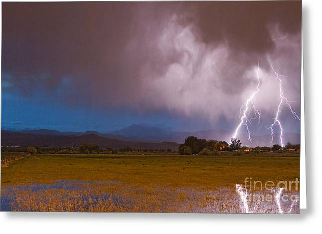 Images Lightning Greeting Cards - Lightning Striking Longs Peak Foothills 8 Greeting Card by James BO  Insogna