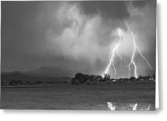 Lightning Striking Longs Peak Foothills 8CBW Greeting Card by James BO  Insogna