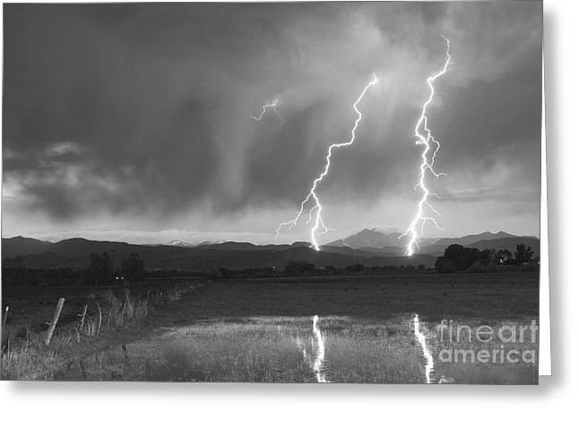 Lightning Striking Longs Peak Foothills Bw Greeting Card by James BO  Insogna