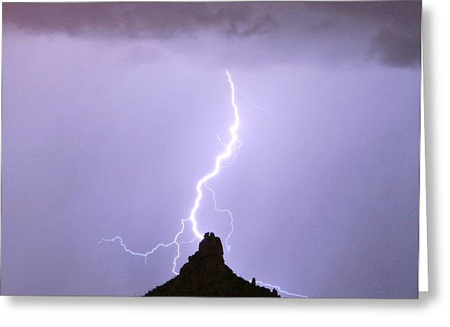 Lightning Striking Pinnacle Peak Scottsdale AZ Greeting Card by James BO  Insogna