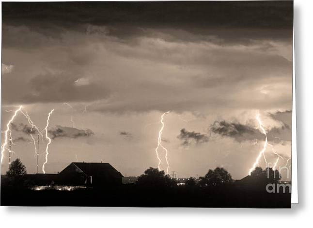 The Lightning Man Greeting Cards - Lightning Thunderstorm July 12 2011 Strikes over the City Sepia Greeting Card by James BO  Insogna