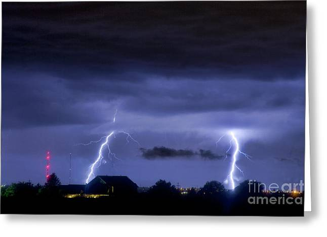 Bouldercounty Greeting Cards - Lightning Thunderstorm July 12 2011 Two Strikes over the City Greeting Card by James BO  Insogna