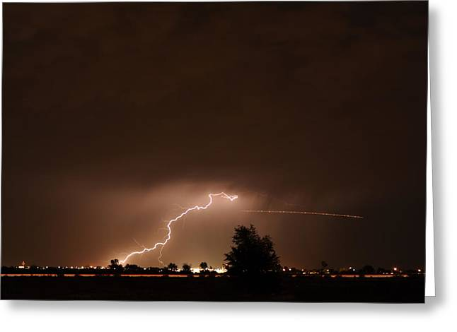 Lightning Bolt Pictures Greeting Cards - Lightning with Plane Trail Greeting Card by Jennifer Brindley