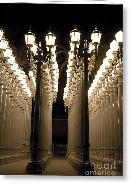 Light Pole Greeting Cards - Lights in Art exhibit in LA Greeting Card by Micah May