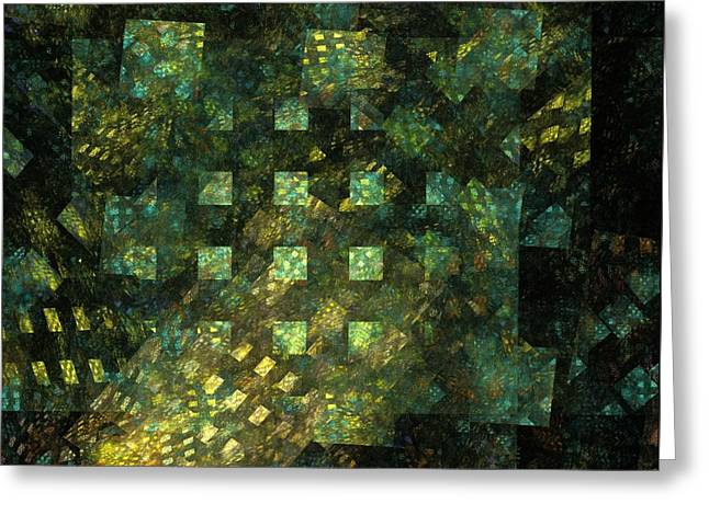 Dark Blue Green Greeting Cards - Lights in the City Greeting Card by Oni H