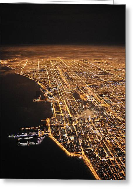 Light Pollution Greeting Cards - Lights Of Chicago Burn Brightly Greeting Card by Jim Richardson