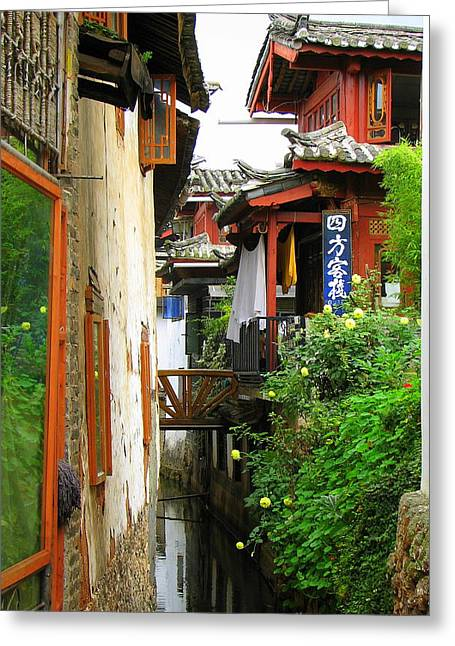 Carla Parris Greeting Cards - Lijiang Back Canal Greeting Card by Carla Parris