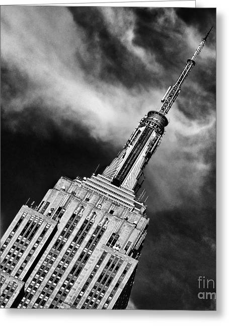 Nyc Winter Greeting Cards - Like a Rocket Ship Heading to the Moon Greeting Card by John Farnan