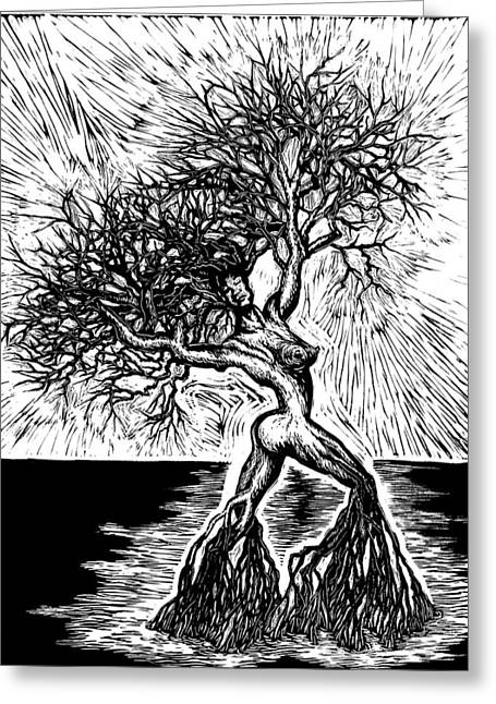 Graphic Reliefs Greeting Cards - Like a Tree In the River Greeting Card by Sabrina McGowens