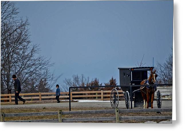 Amish Father Greeting Cards - Like Father Like Son Greeting Card by Brenda Becker