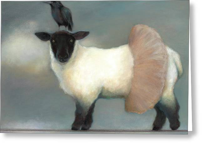 Ravens Greeting Cards - ...like Lambs.. Greeting Card by Katherine DuBose Fuerst