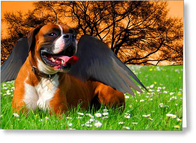 Surrealism Greeting Cards - lil Angels Boxer Greeting Card by Tisha McGee