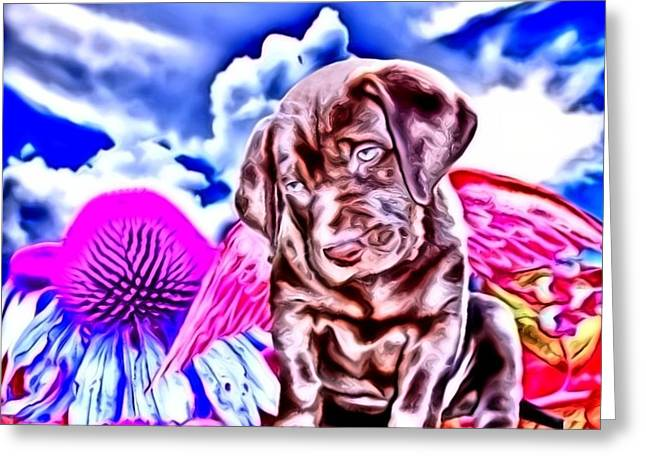 lil Angels Chocolate Lab Greeting Card by Tisha McGee