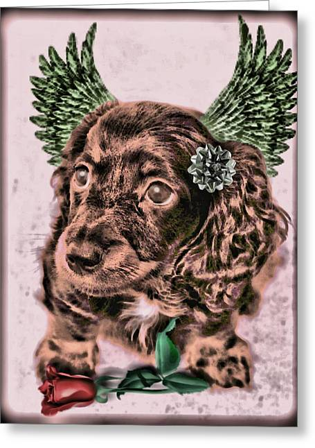 Puppies Greeting Cards - Lil Angels Dashound Greeting Card by Tisha McGee