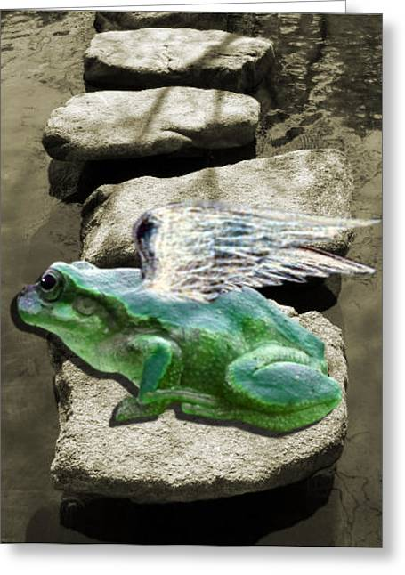 Fantasy Greeting Cards - lil Angels Froggy Greeting Card by Tisha McGee