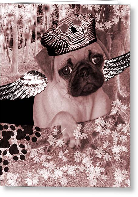 Puppies Greeting Cards - lil Angels Pug in a hole Greeting Card by Tisha McGee