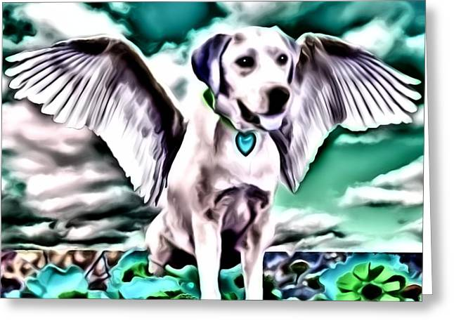 Wings Greeting Cards - Lil Angels The Lab Greeting Card by Tisha McGee