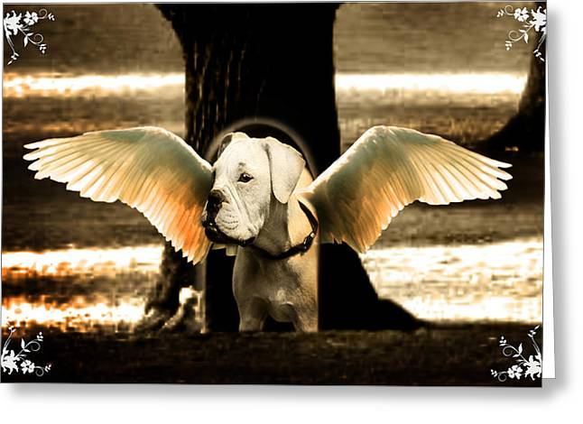 Fairy Greeting Cards - lil Angels Treetrunk Bulldog Greeting Card by Tisha McGee