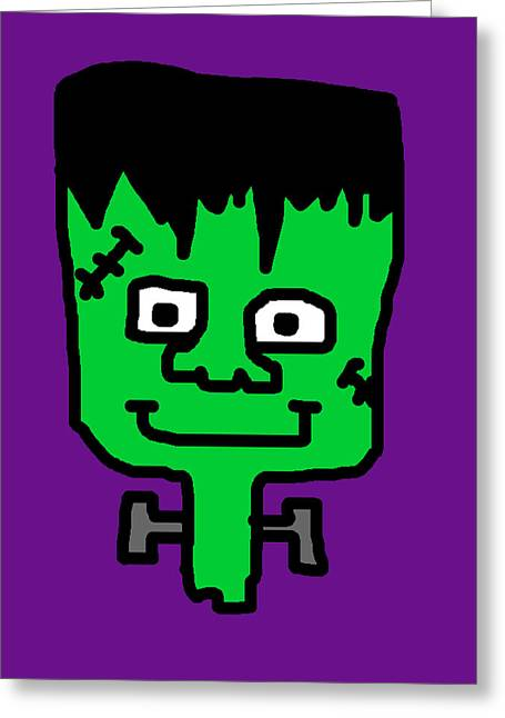 Character Portraits Greeting Cards - Lil Frankenstein Greeting Card by Jera Sky