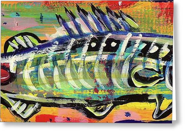 Trout Fishing Drawings Greeting Cards - Lil Funky Folk Fish number ten Greeting Card by Robert Wolverton Jr