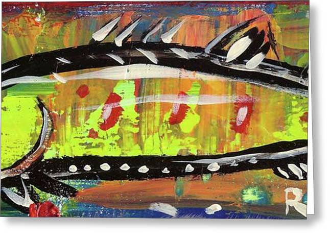 Salmon Mixed Media Greeting Cards - Lil Funky Folk Fish number twelve Greeting Card by Robert Wolverton Jr
