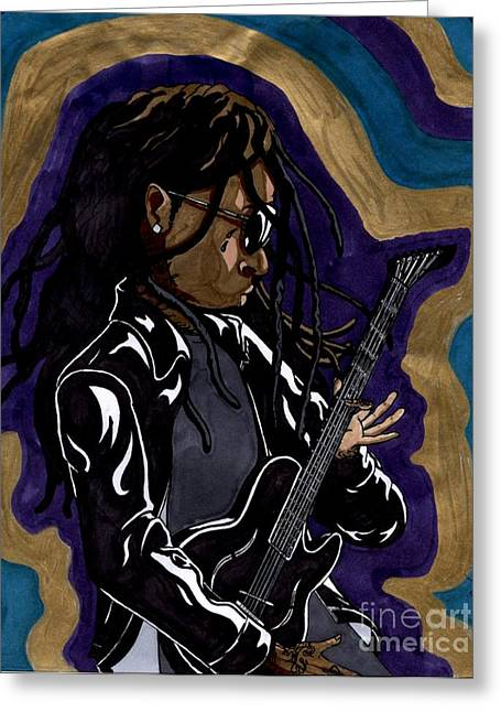 Lil Wayne Sunglasses Greeting Cards - Lil Wayne And His Guitar Greeting Card by Matthew Fields