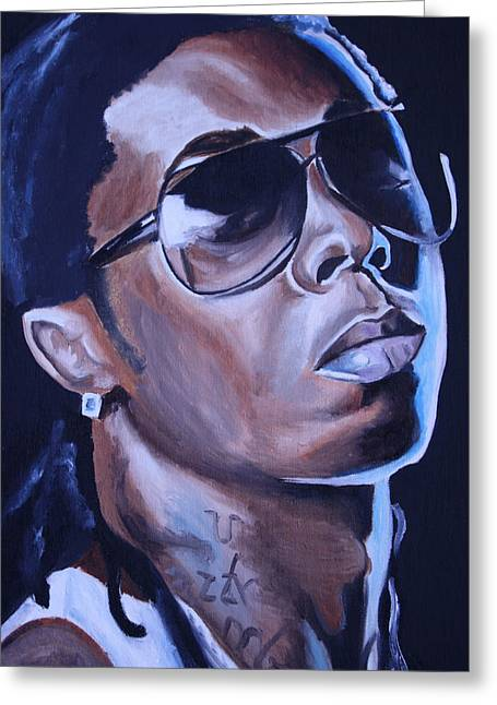 For Sale Greeting Cards - Lil Wayne Portrait Greeting Card by Mikayla Henderson